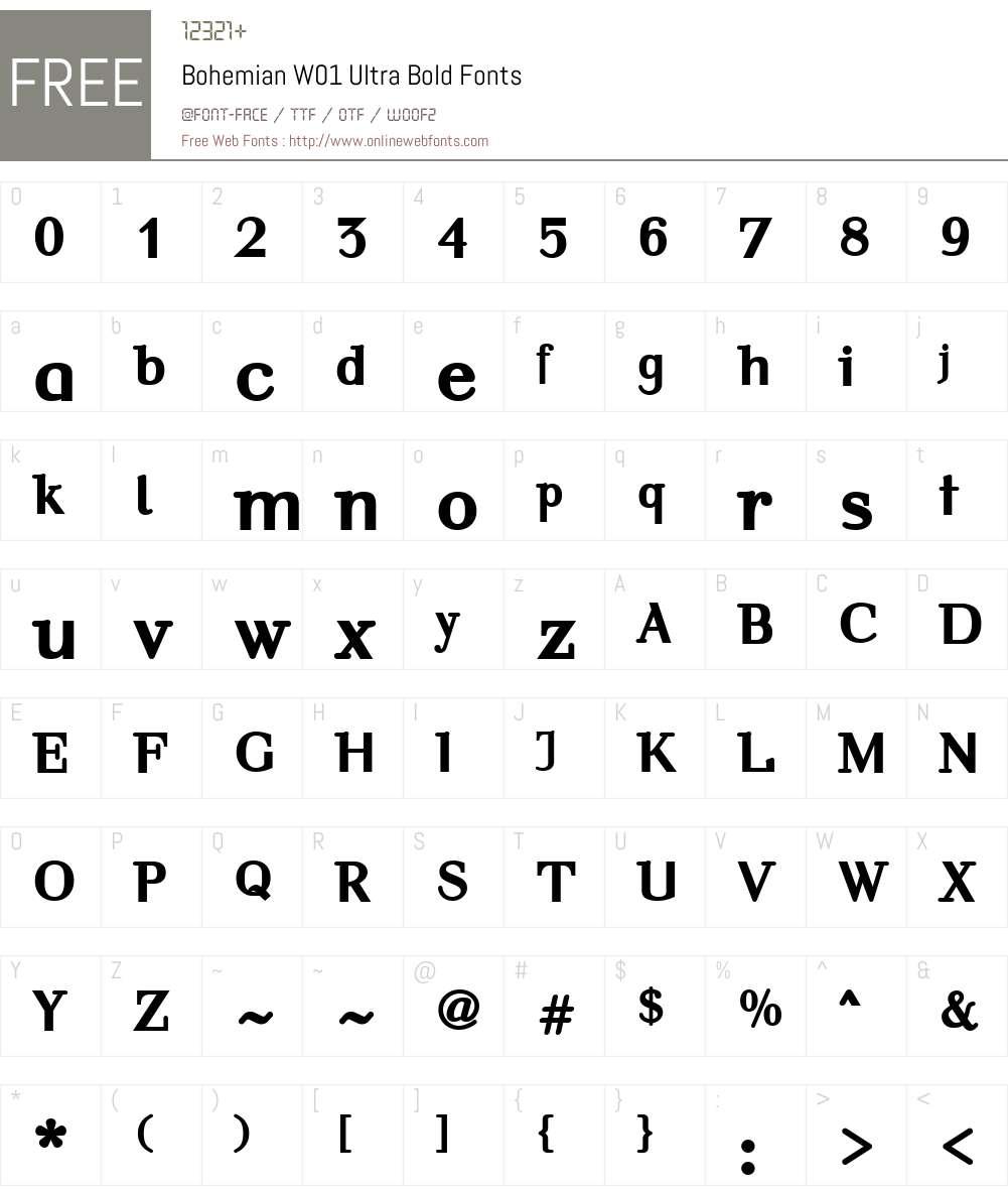 BohemianW01-UltraBold Font Screenshots