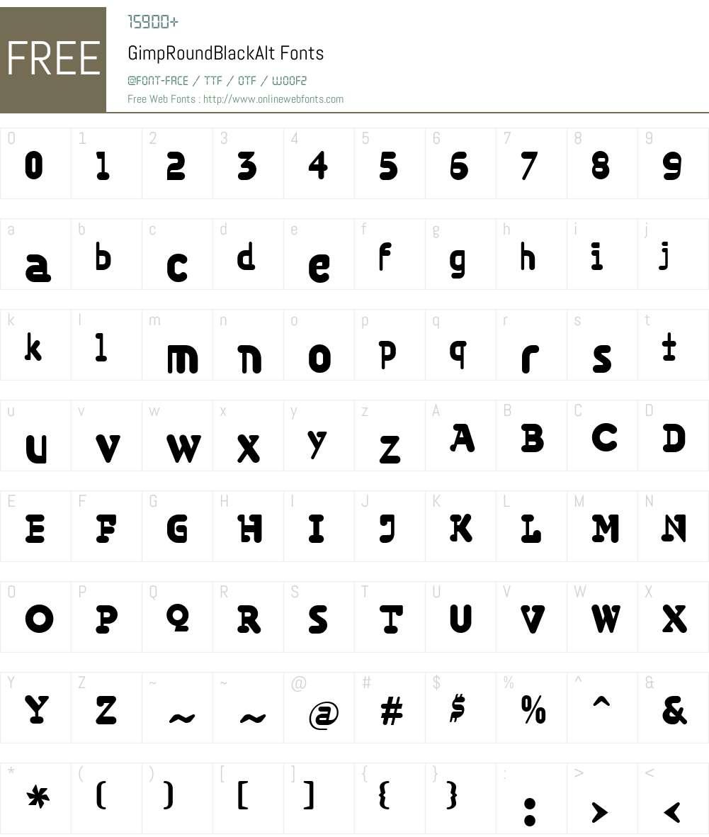 GimpW00-RoundBlackAlt Font Screenshots