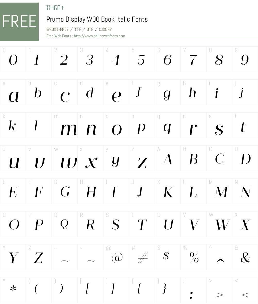 PrumoDisplayW00-BookItalic Font Screenshots