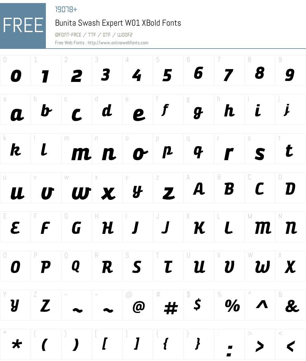 BunitaSwashExpertW01-XBold Font Screenshots