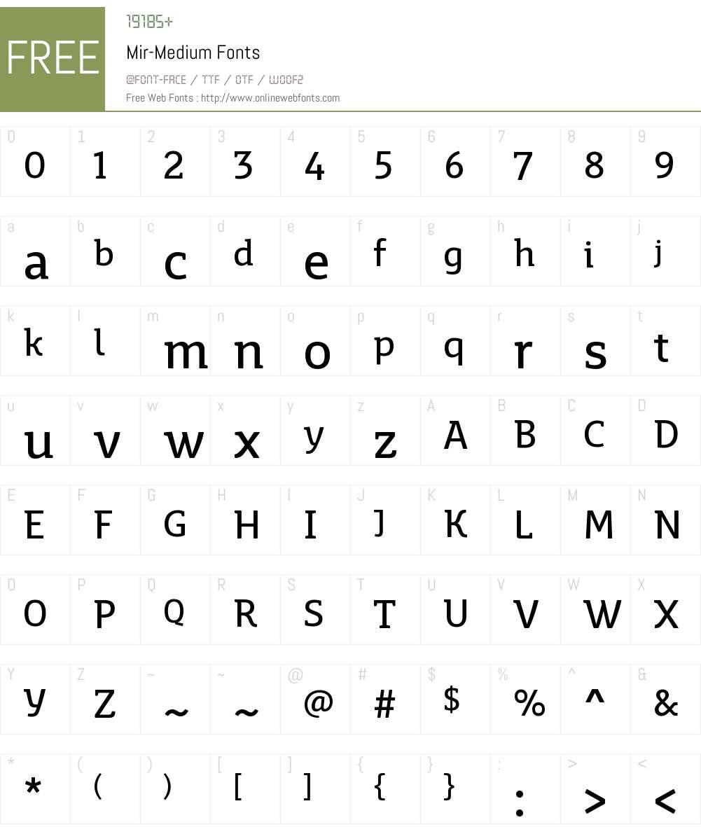Mir Medium Font Screenshots