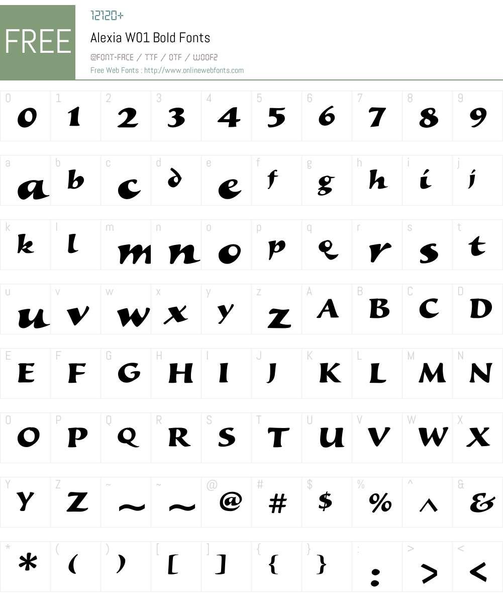 AlexiaW01-Bold Font Screenshots