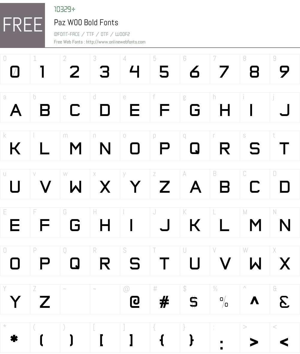 PazW00-Bold Font Screenshots