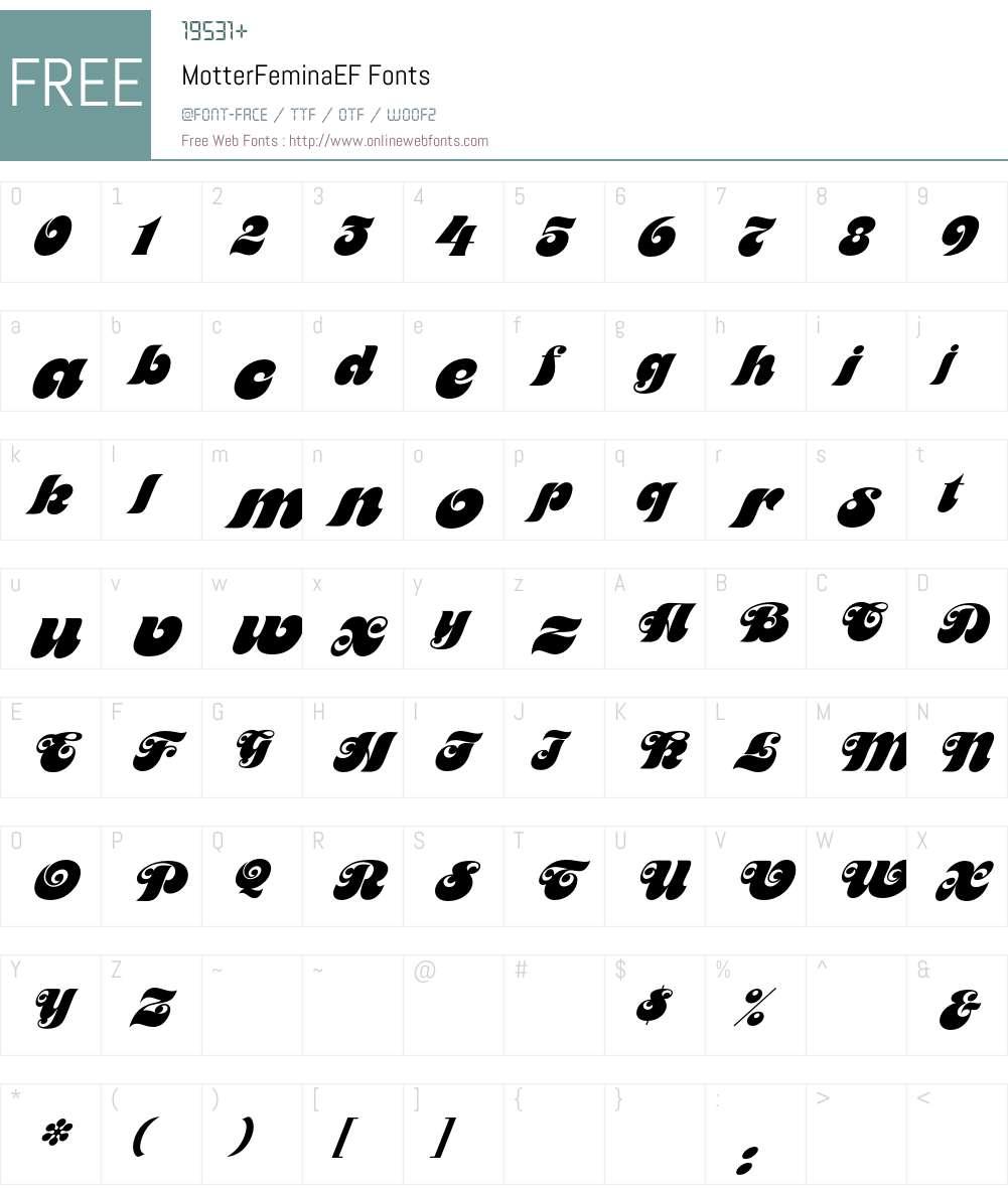 MotterFeminaEF Font Screenshots