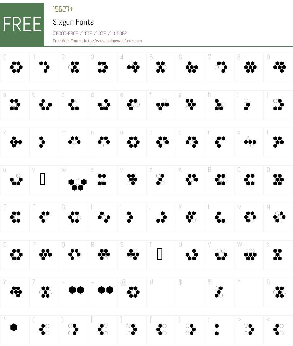 Sixgun Font Screenshots