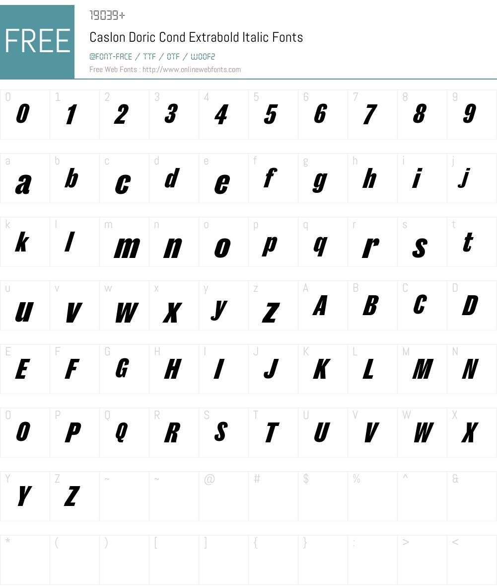 Caslon Doric Cond Extrabold Font Screenshots