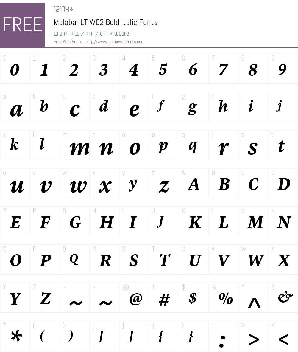 MalabarLTW02-BoldItalic Font Screenshots