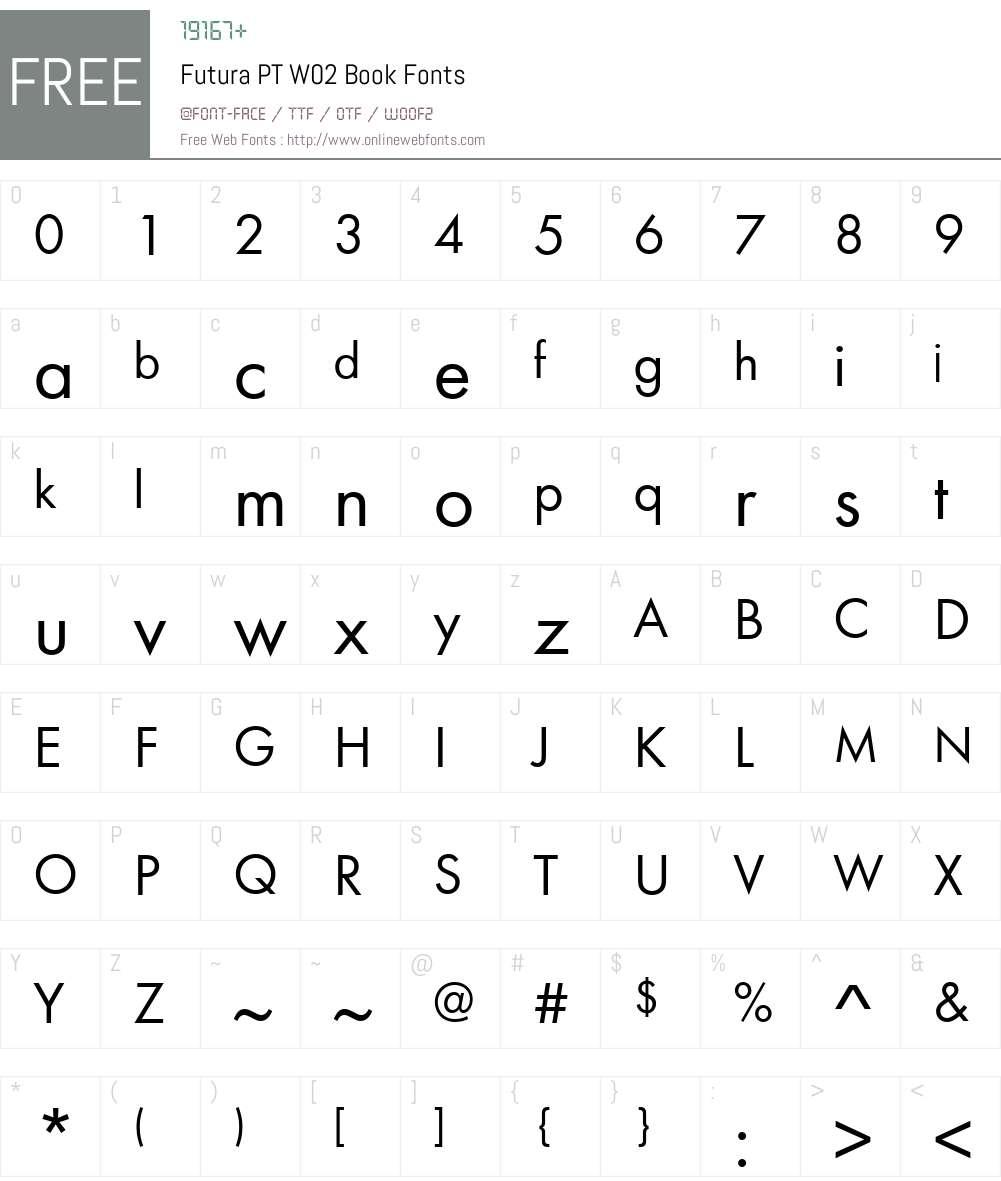 FuturaPTW02-Book Font Screenshots