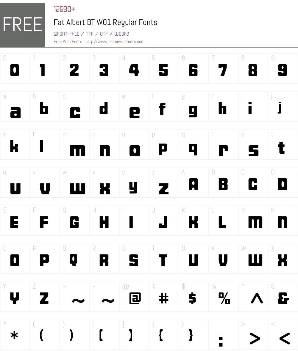 FatAlbertBTW01-Regular Font Screenshots