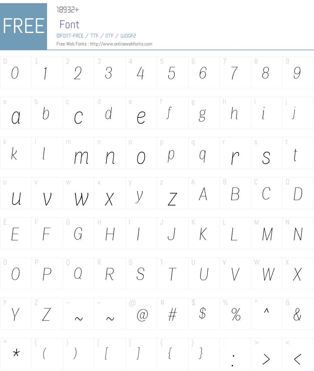 AirW00-CondThinItalic Font Screenshots