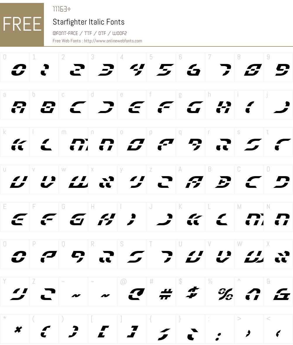 Starfighter Italic Font Screenshots