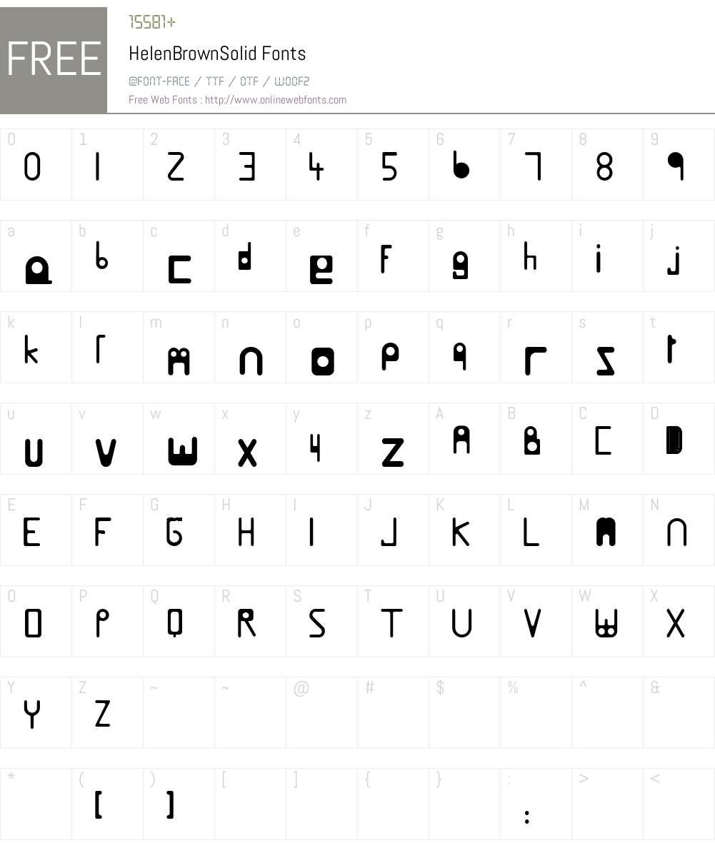 HelenBrownSolid Font Screenshots