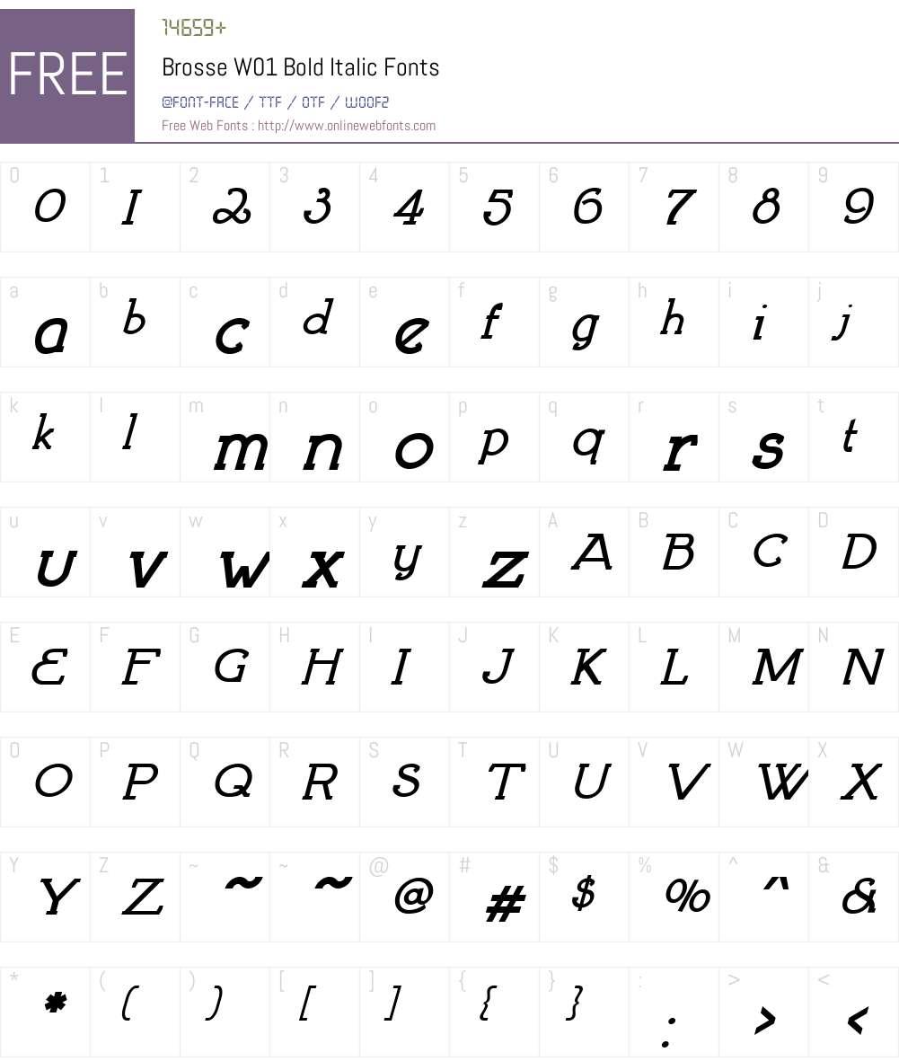 BrosseW01-BoldItalic Font Screenshots
