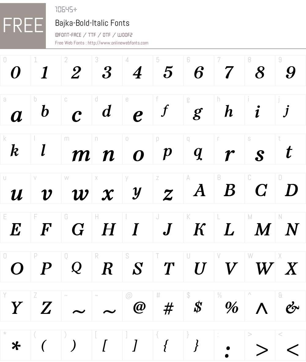 Bajka-BoldItalic Font Screenshots