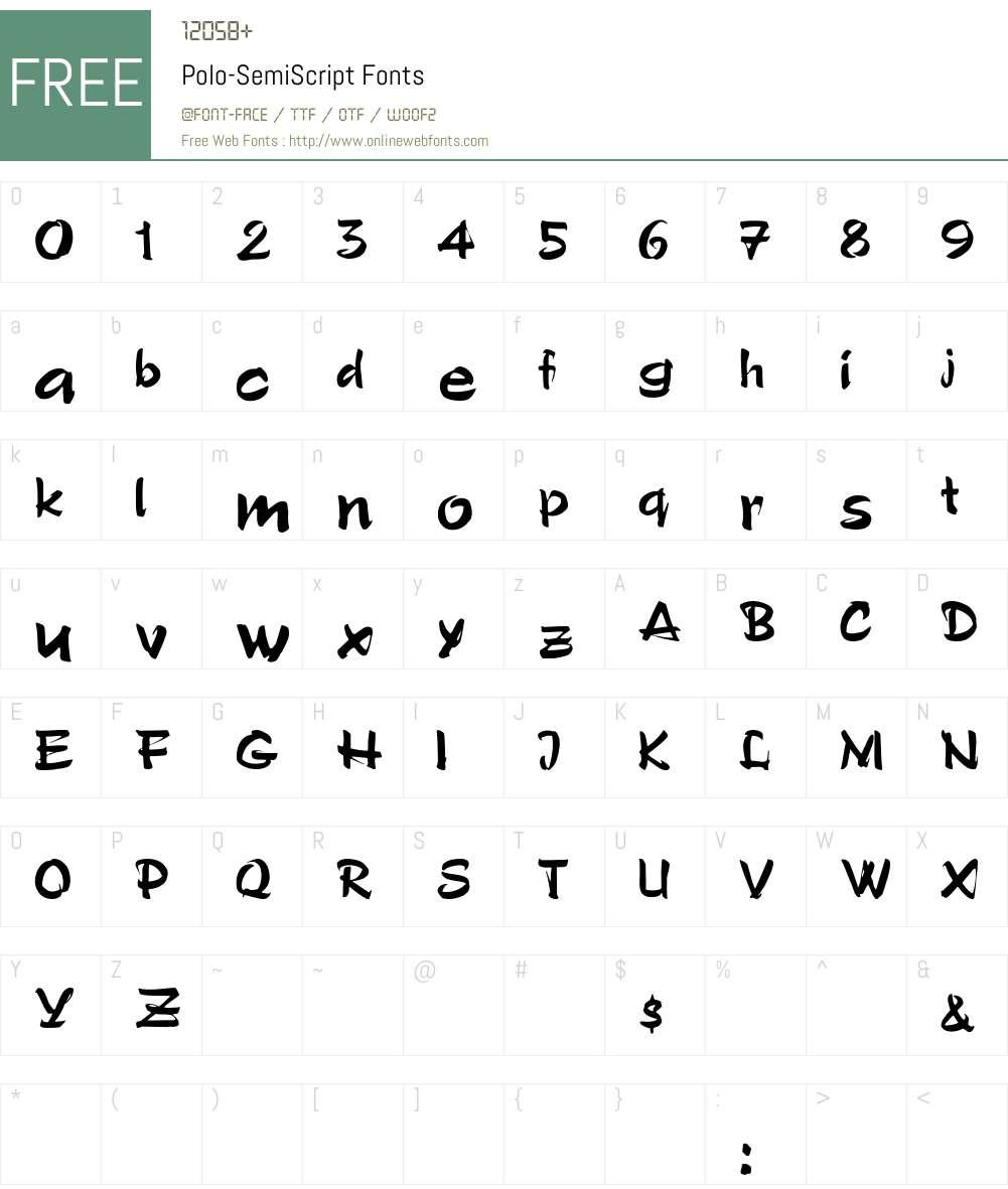 Polo-SemiScript Font Screenshots