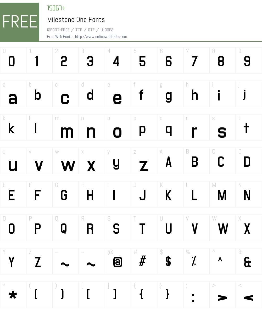 Milestone One Font Screenshots