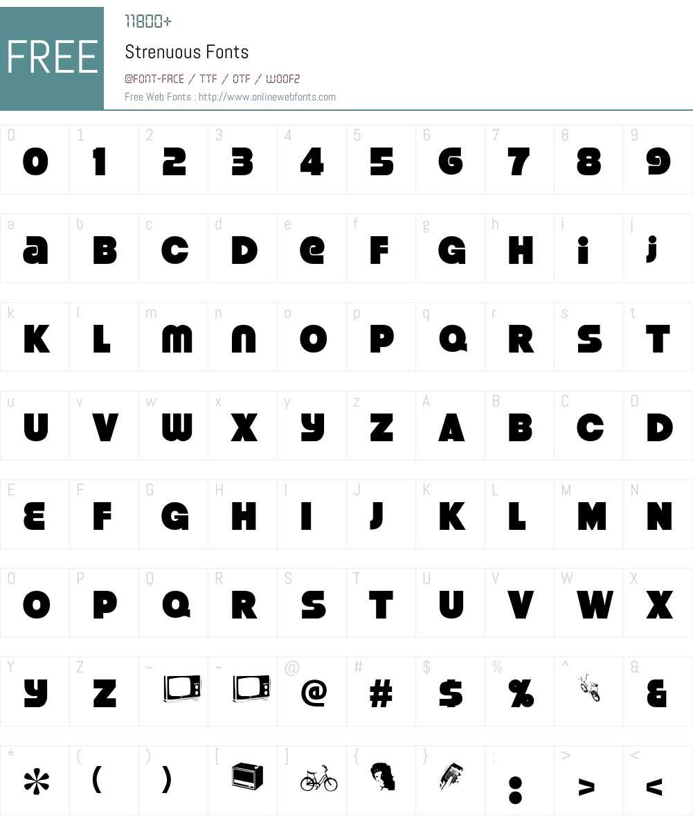Strenuous Font Screenshots
