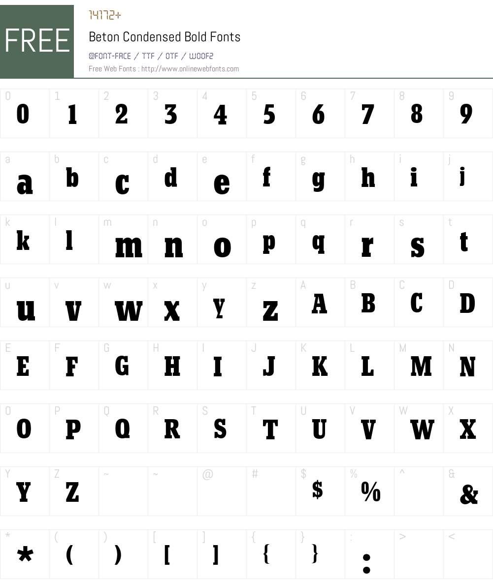 Beton BQ Font Screenshots