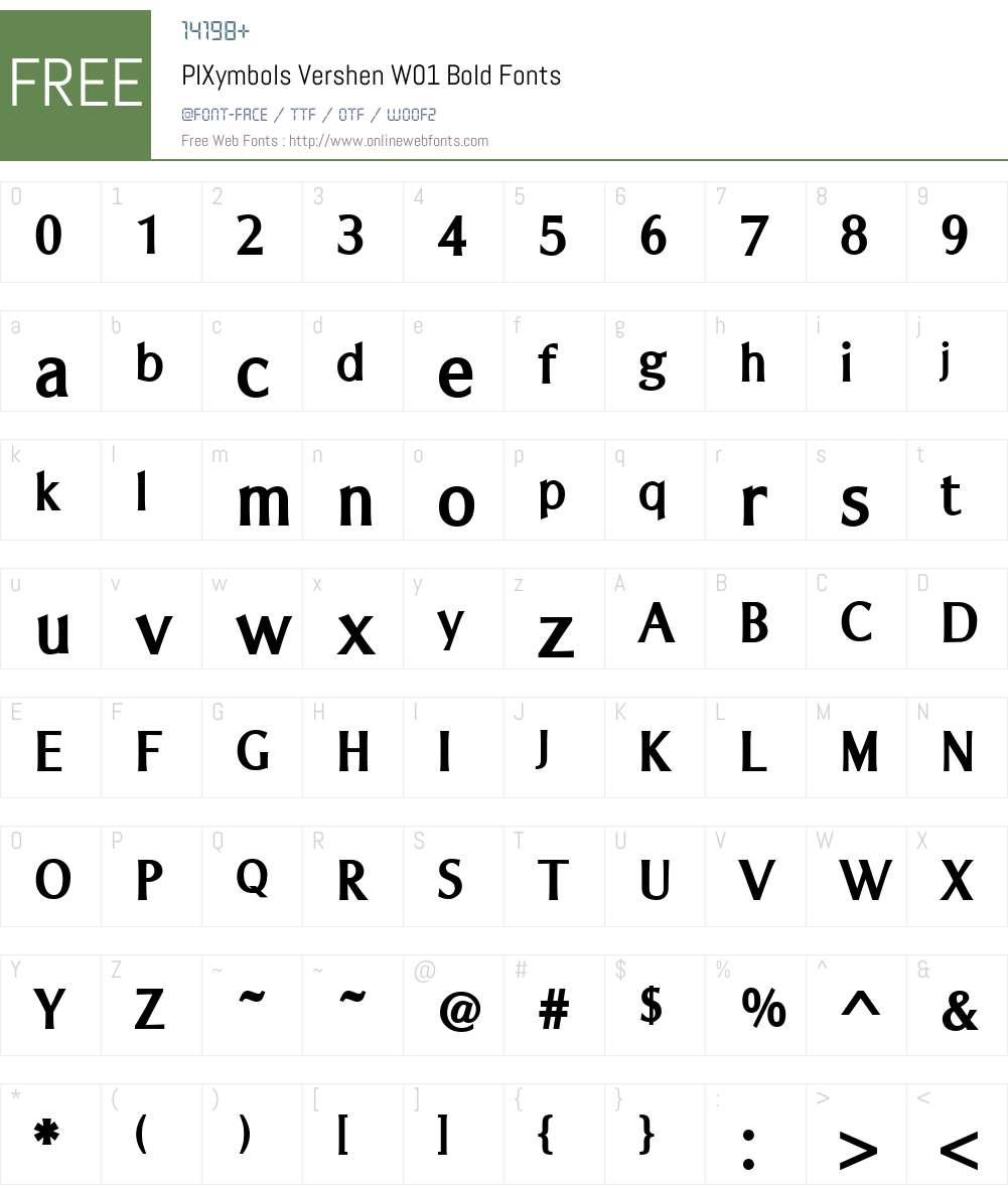 PIXymbolsVershenW01-Bold Font Screenshots
