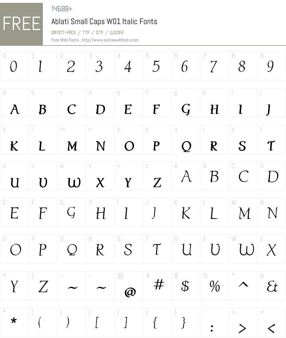 AblatiSmallCapsW01-Italic Font Screenshots
