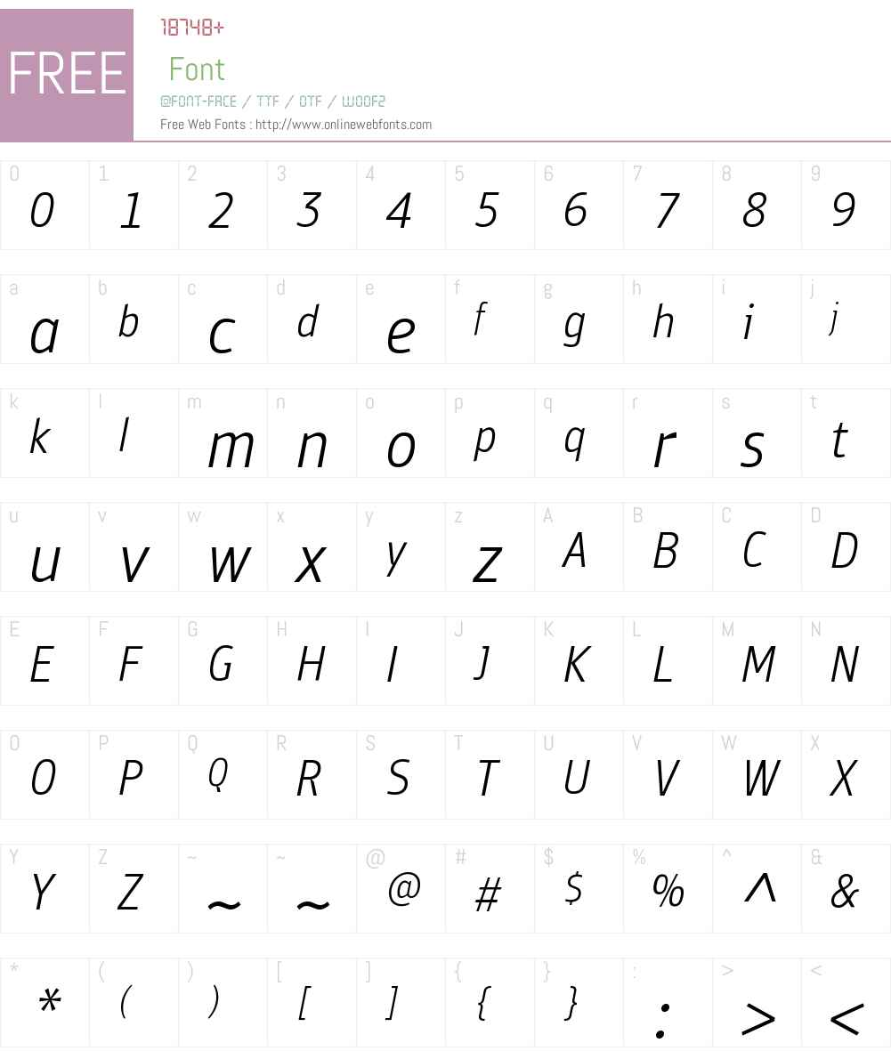 PFBulletinSansW01-LightIt Font Screenshots