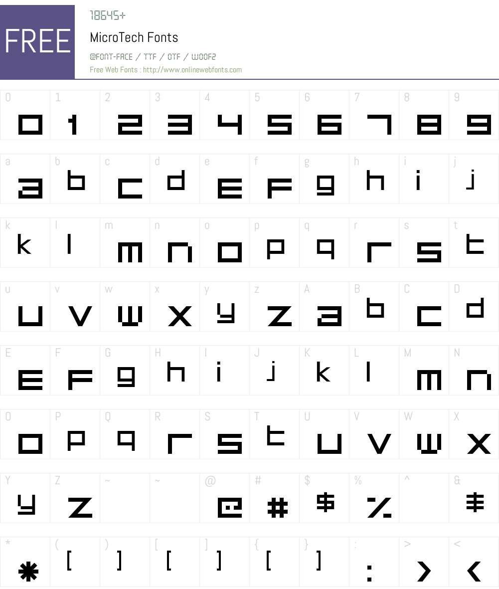 MicroTech Font Screenshots