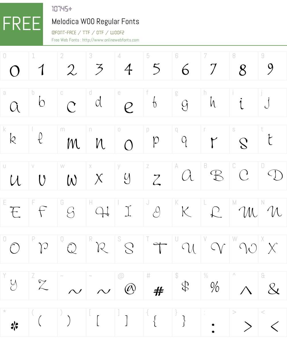 MelodicaW00-Regular Font Screenshots