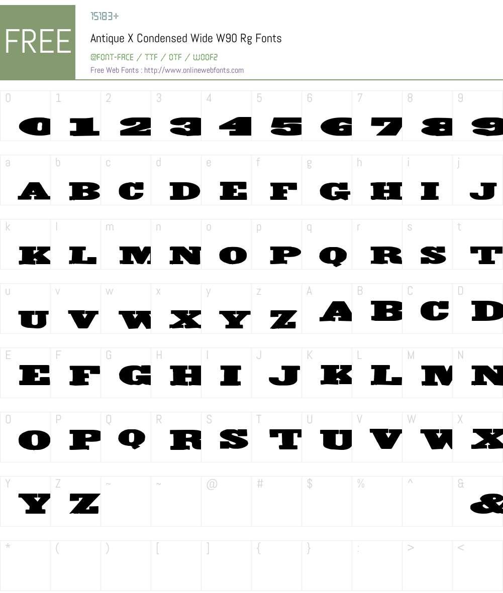 AntiqueXCondensedWideW90-Rg Font Screenshots