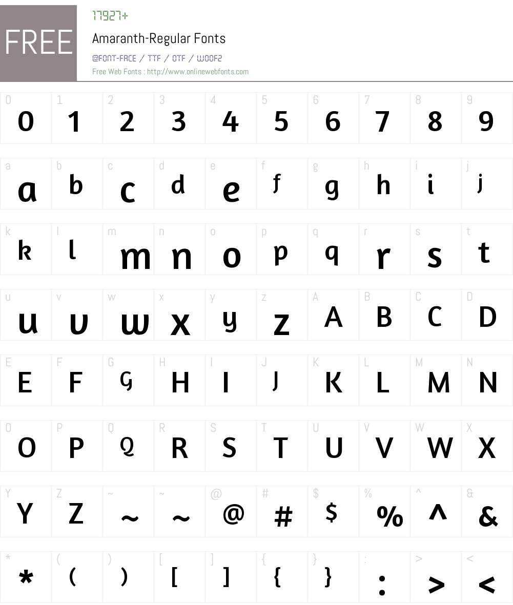 Amaranth Font Screenshots