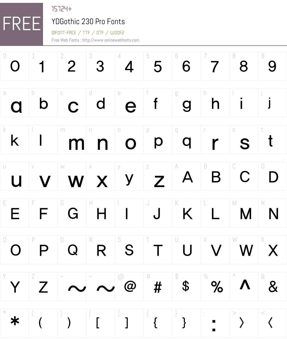 YD Gothic 200 Font Screenshots