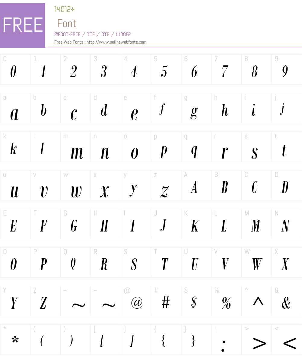 Bodoni MT Condensed Font Screenshots
