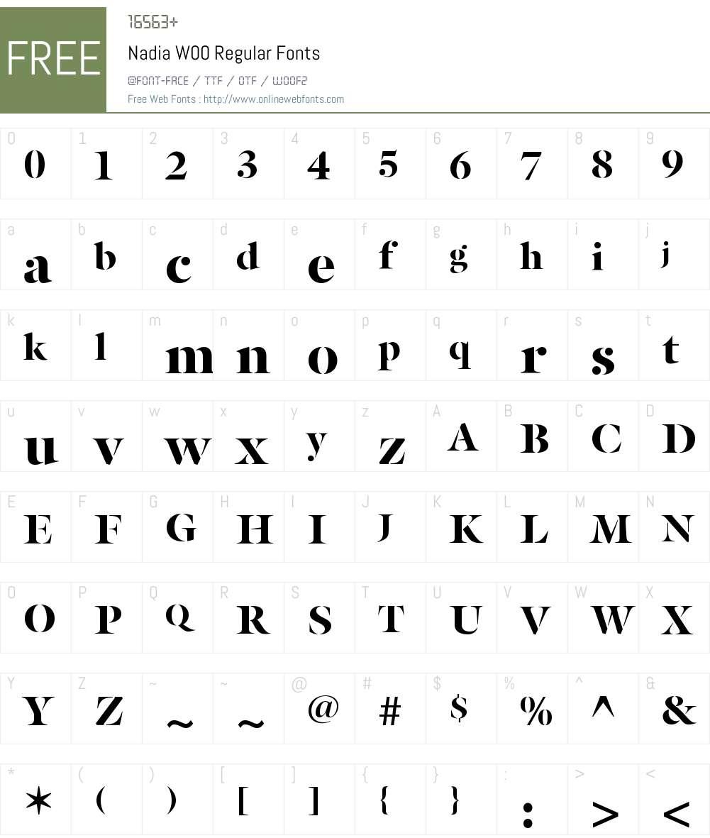 NadiaW00-Regular Font Screenshots