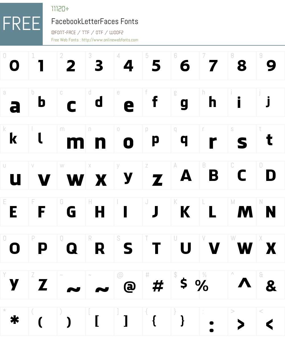 Facebook Letter Faces Font Screenshots