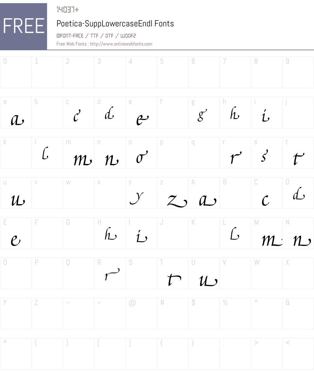 Poetica Supp Lowercase Endings Font Screenshots