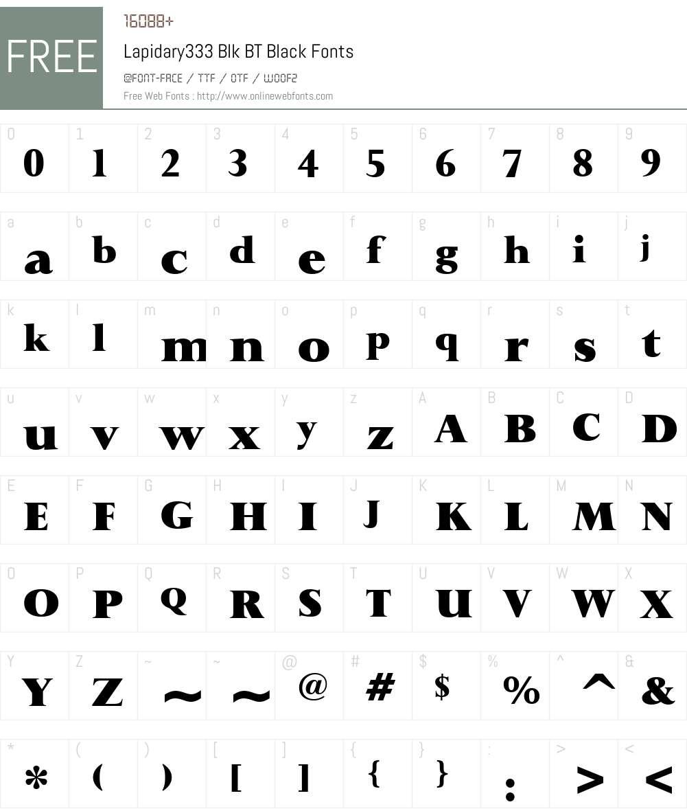 Lapidary333 Blk BT Font Screenshots