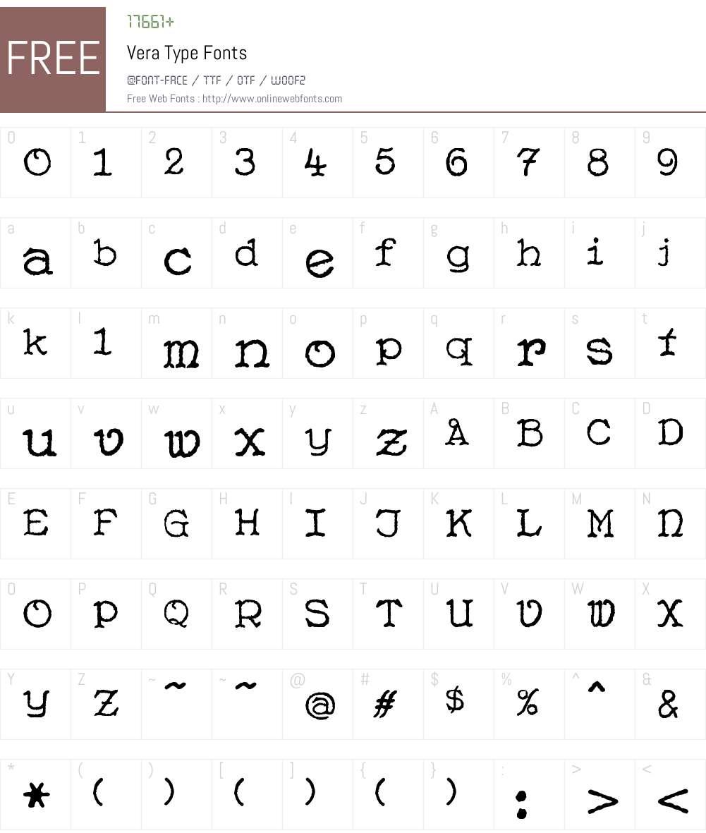 Vera Type Font Screenshots