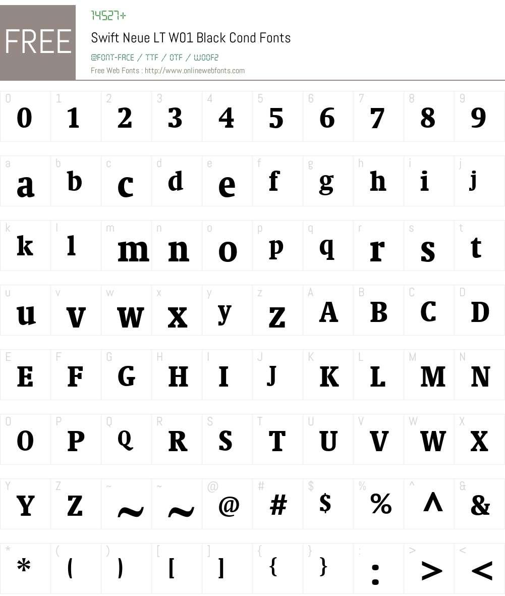 SwiftNeueLTW01-BlackCond Font Screenshots