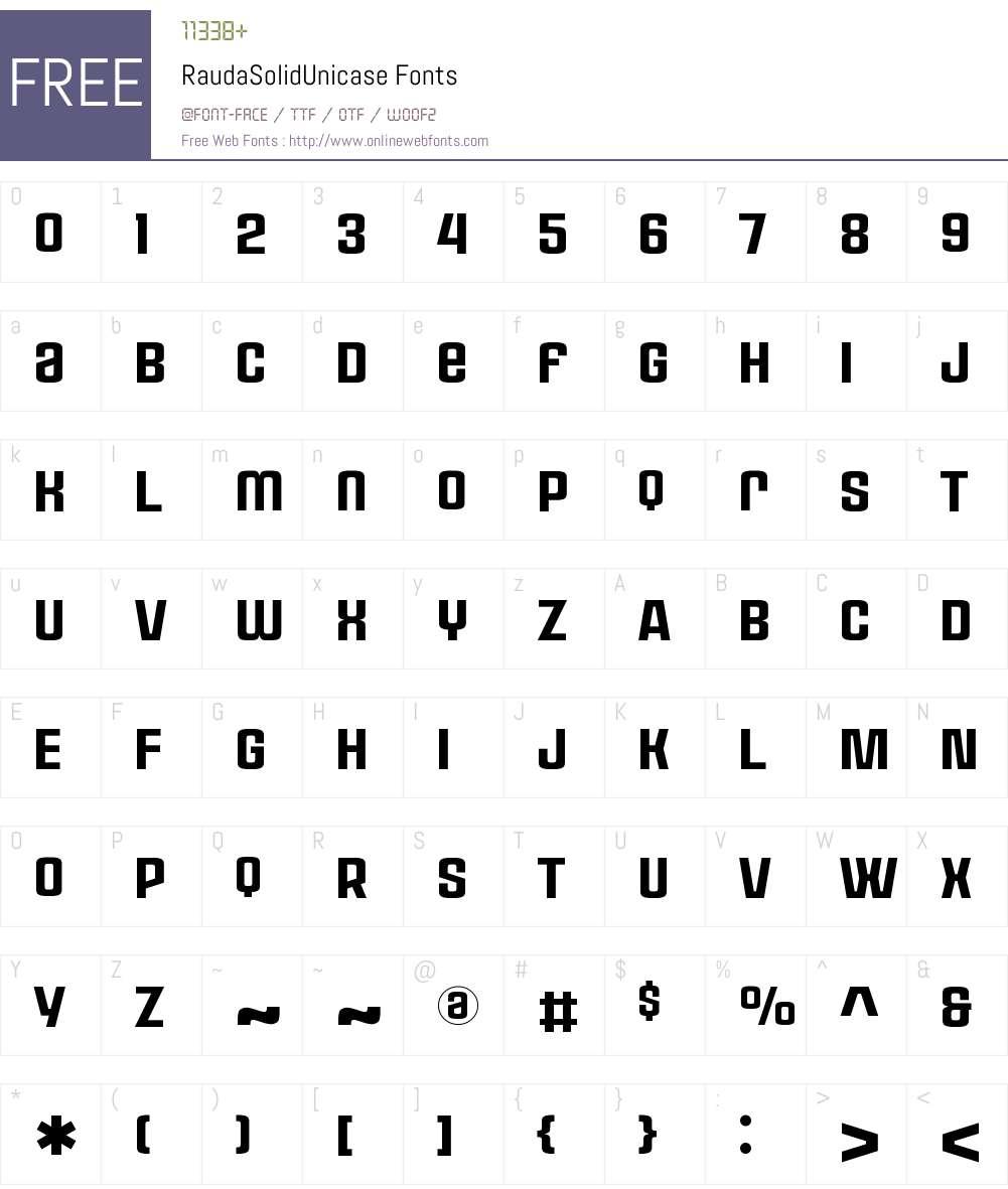 Rauda Solid Unicase Font Screenshots