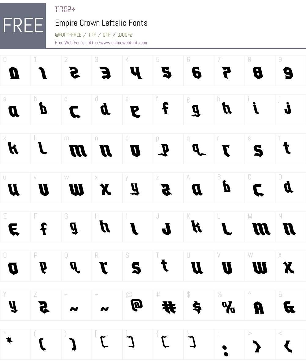 Empire Crown Leftalic Font Screenshots
