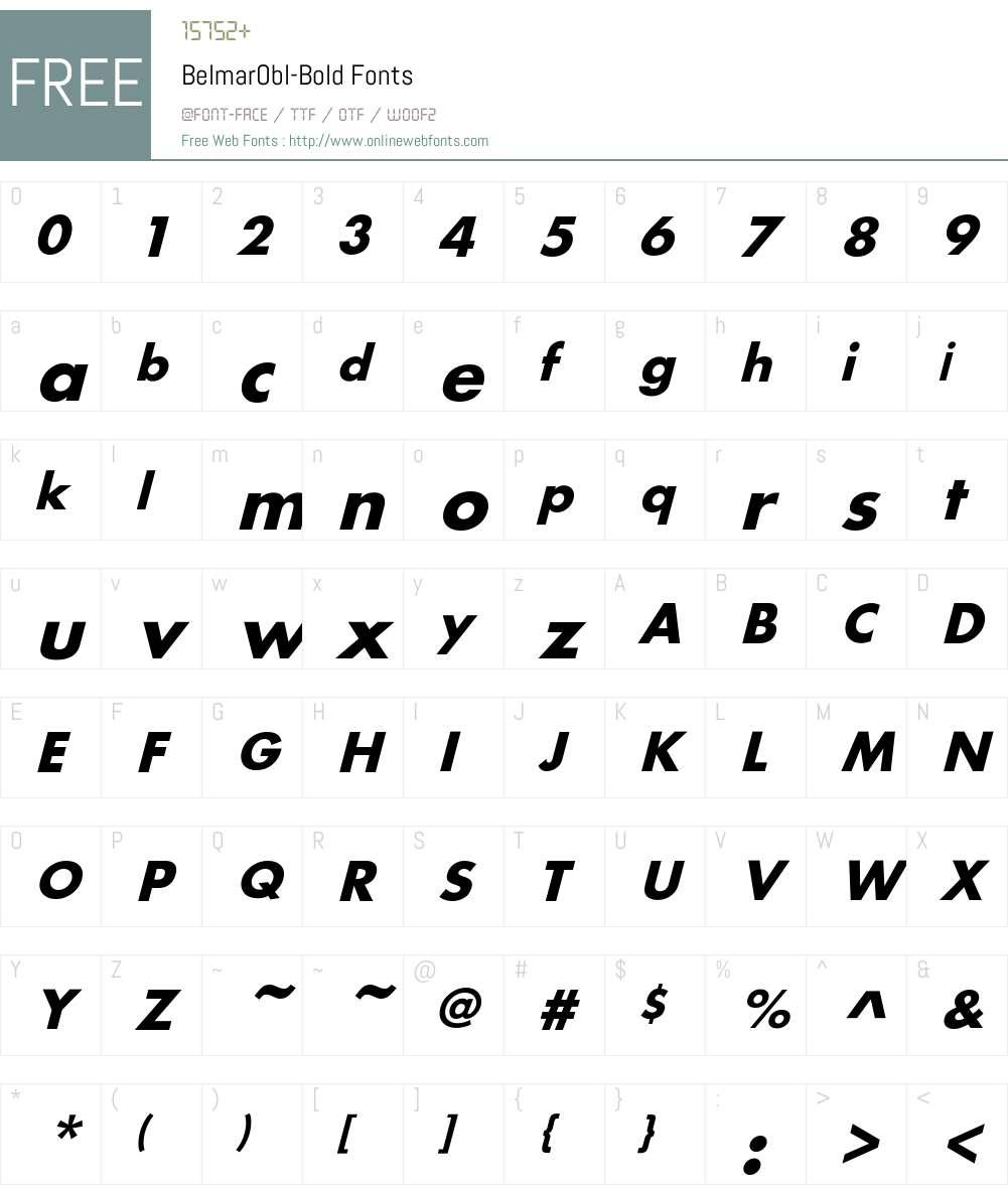 BelmarObl-Bold Font Screenshots