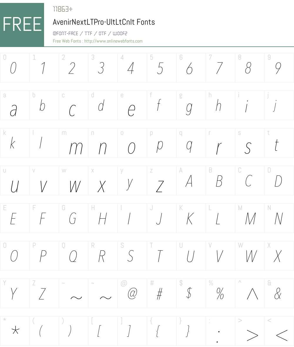 AvenirNext LT Pro UltLightCn Font Screenshots
