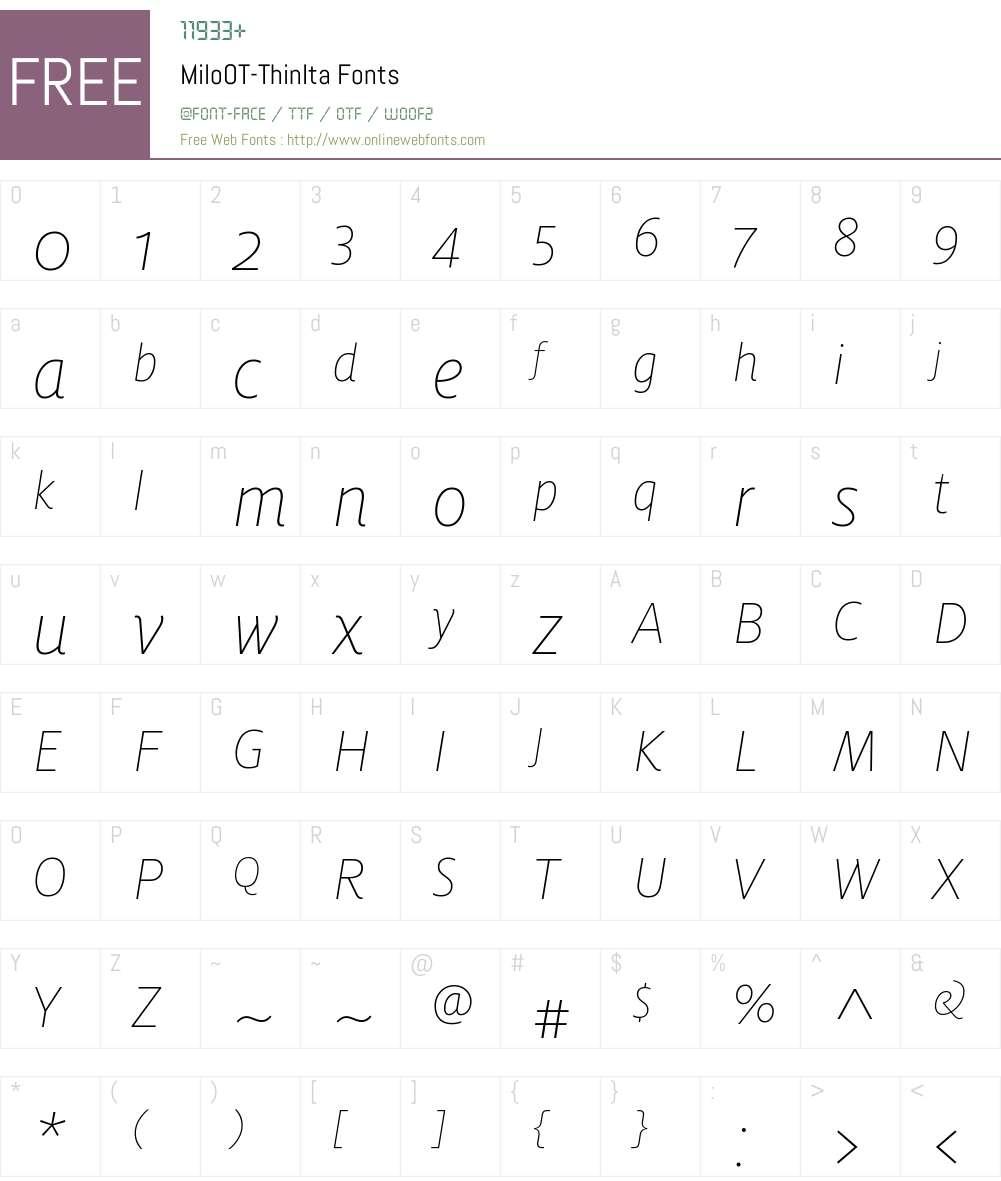 MiloOT-ThinIta Font Screenshots