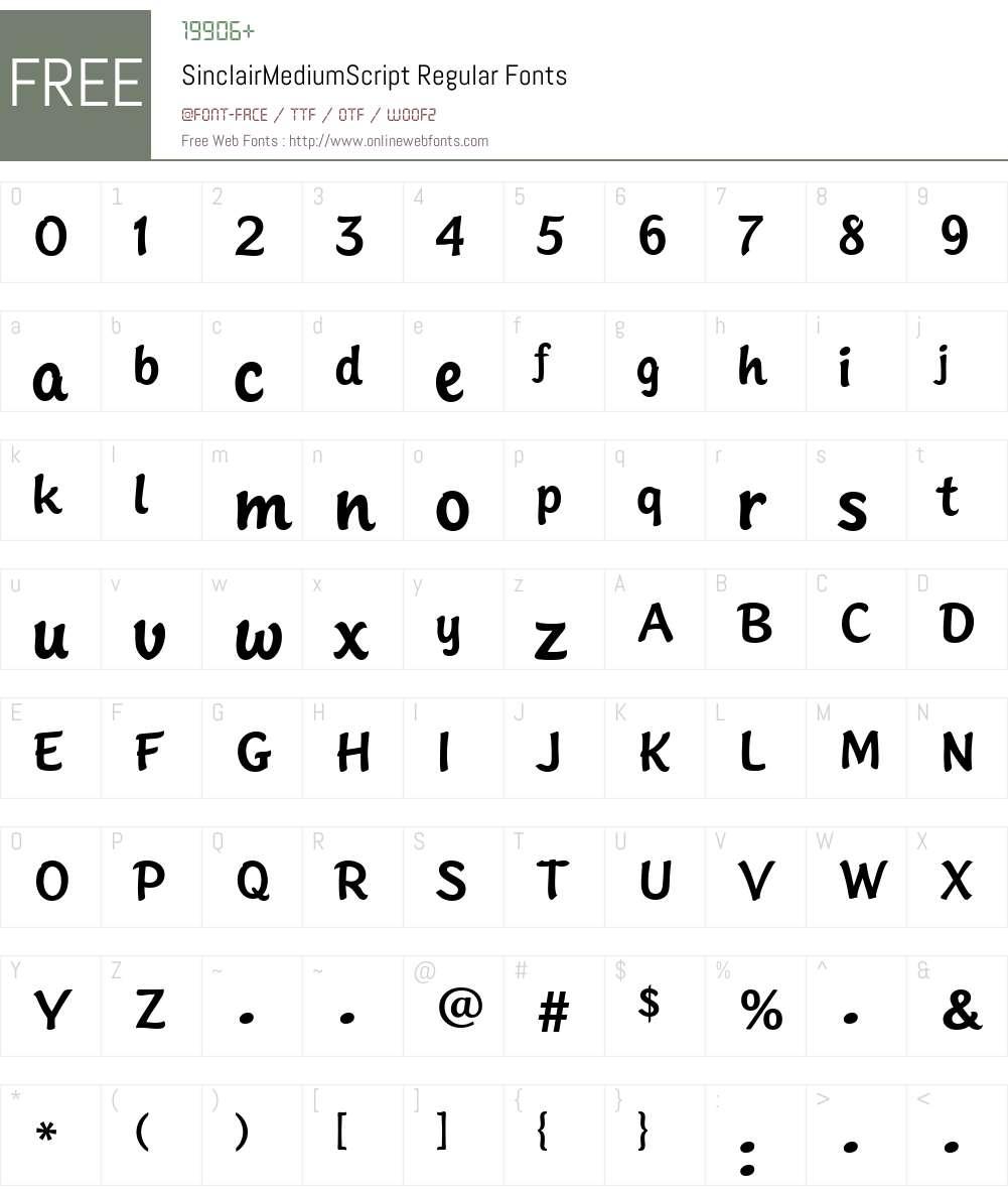 SinclairMediumScript Font Screenshots