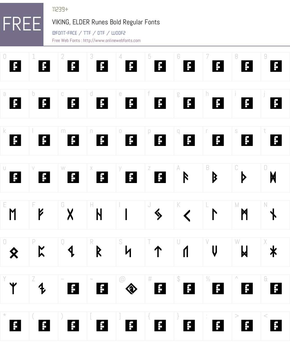 VIKING, ELDER Runes Bold Font Screenshots