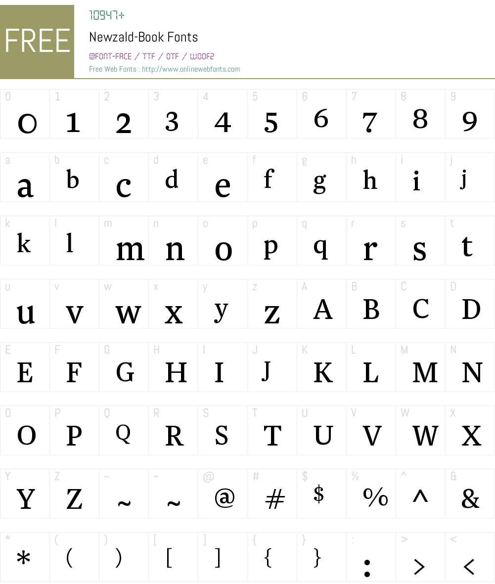 Newzald Book Font Screenshots