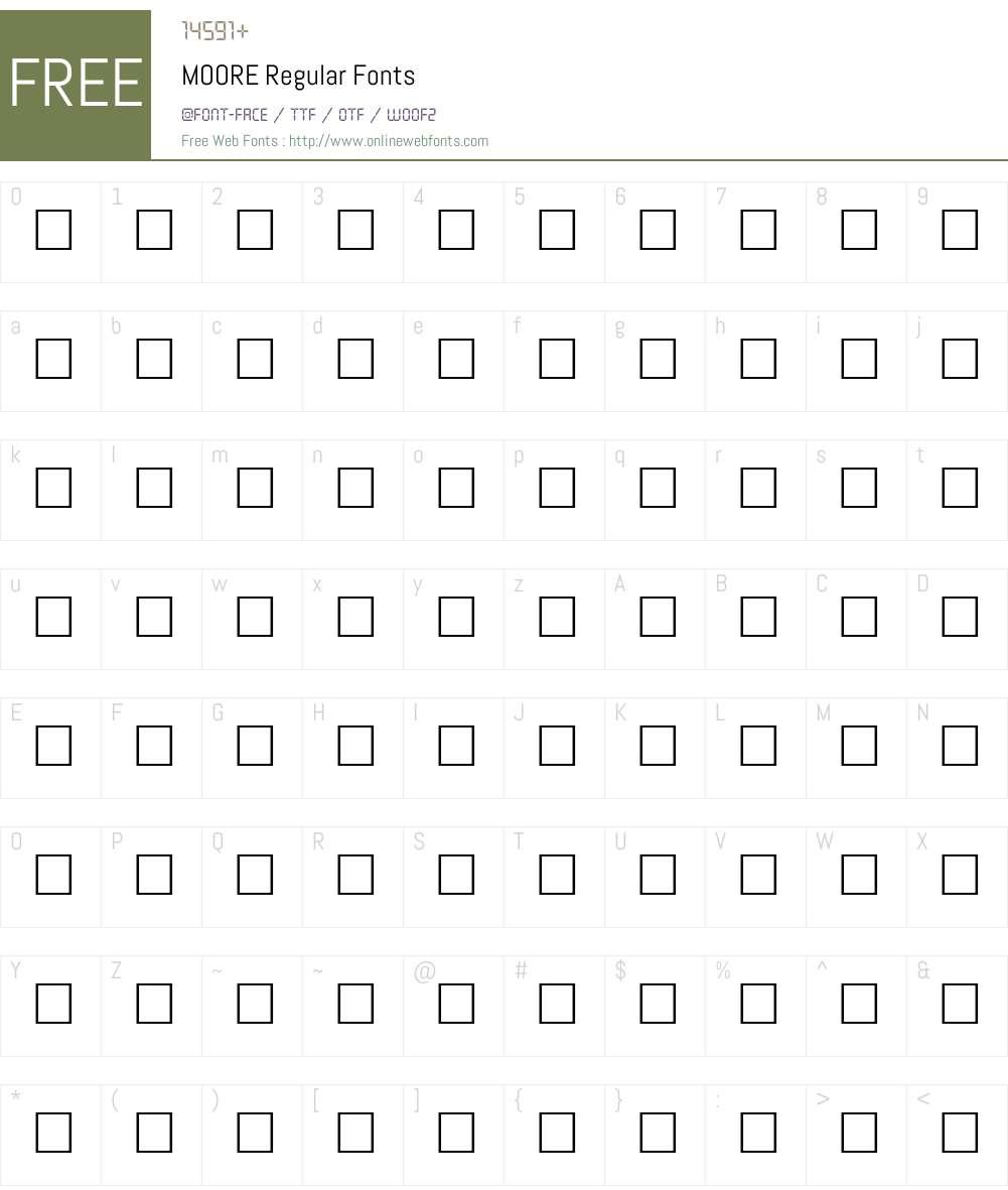 MOORE Font Screenshots