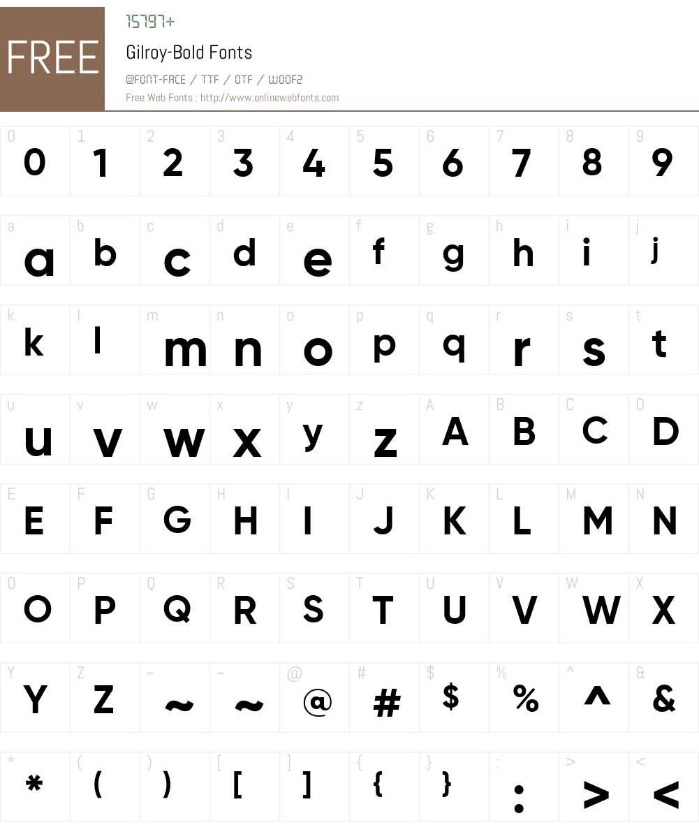 Gilroy-Bold Font Screenshots