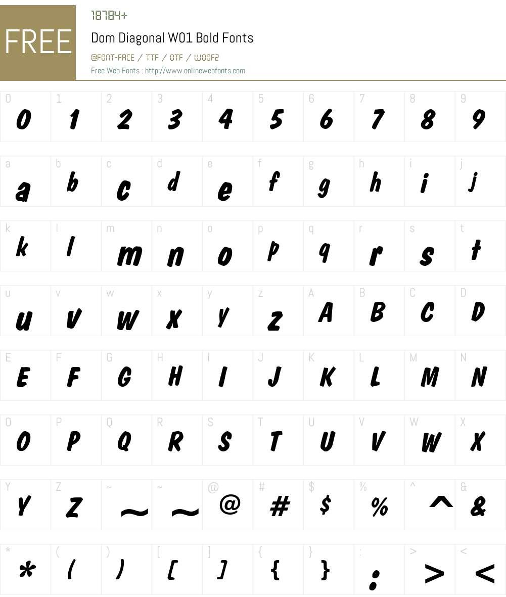 DomDiagonalW01-Bold Font Screenshots
