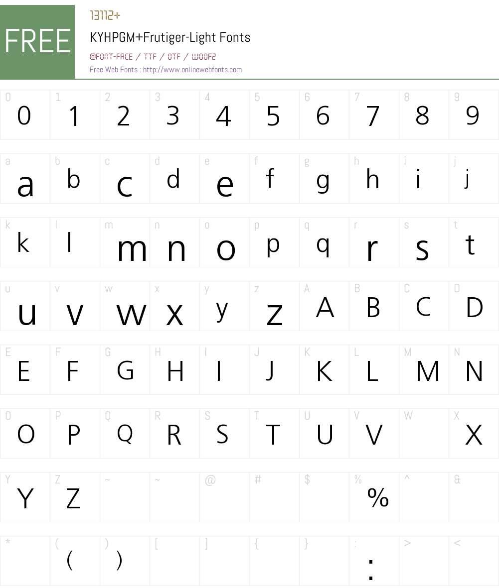 KYHPGM+Frutiger-Light Font Screenshots