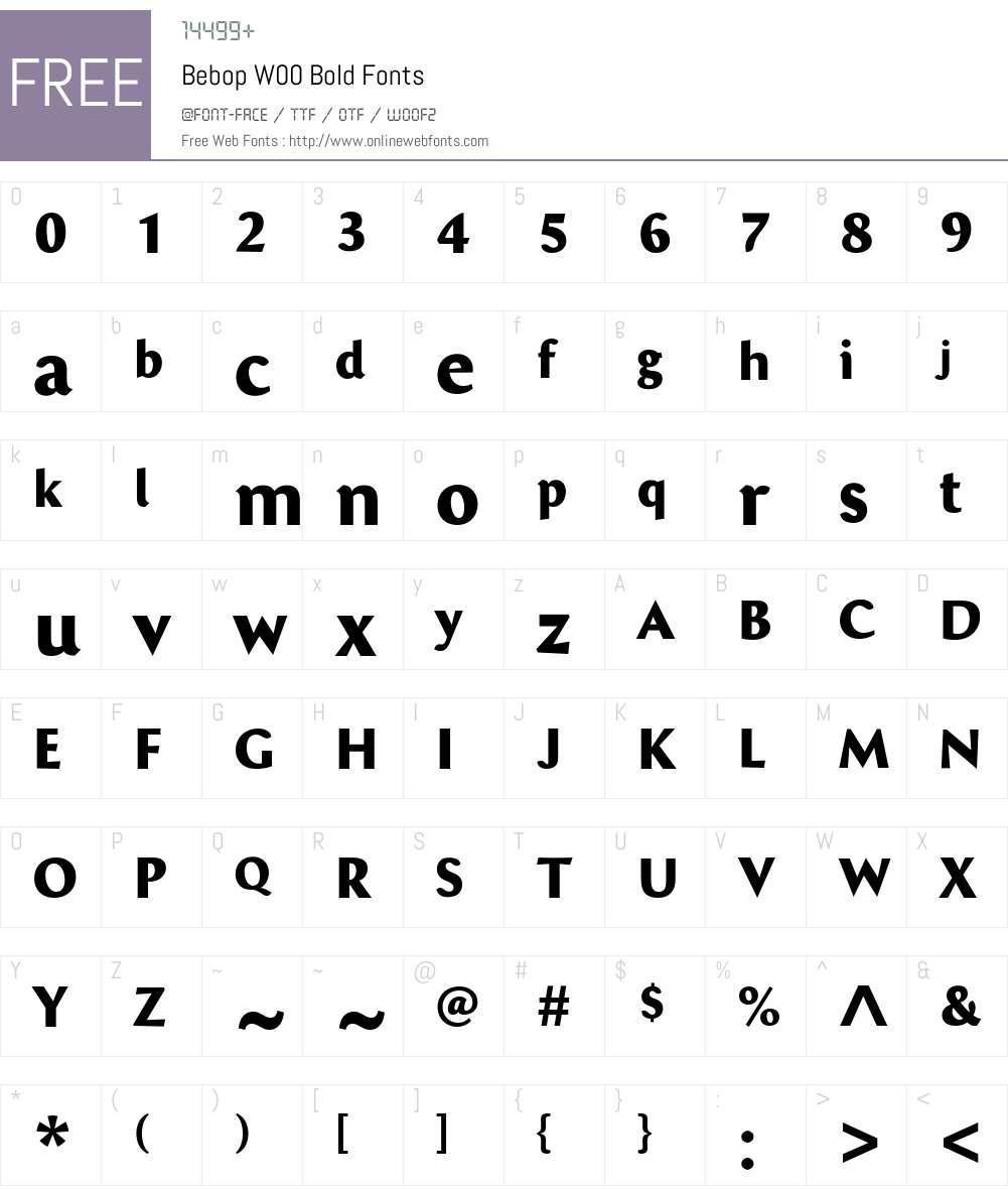 BebopW00-Bold Font Screenshots